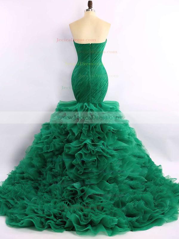 Trumpet/Mermaid Green Organza Court Train Cascading Ruffles Expensive Prom Dress #JCD020101683