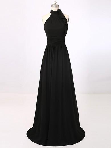Halter Chiffon Sweep Train with Ruffles Discounted Black Prom Dress #JCD020101695