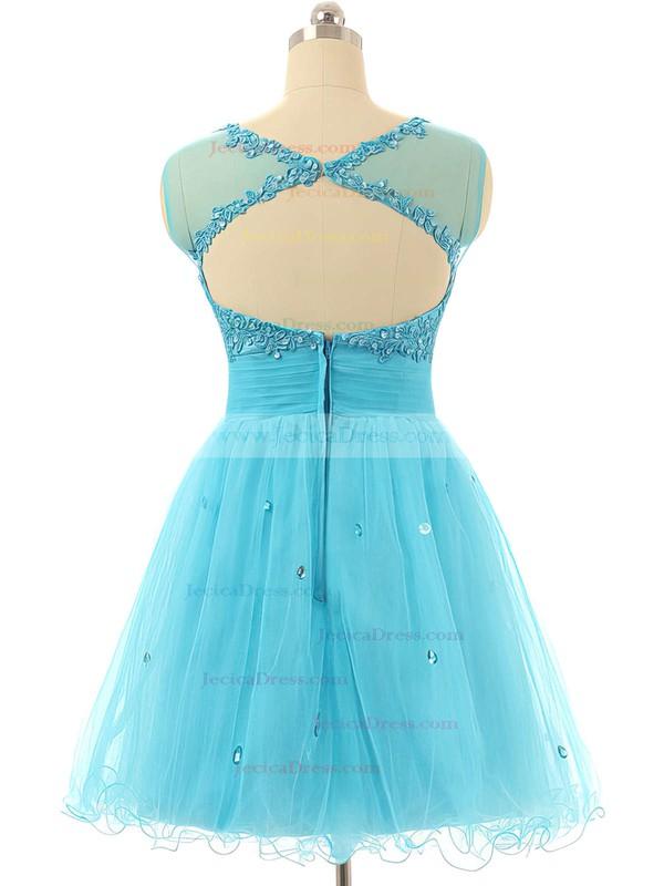 Cap Straps A-line Tulle Short/Mini Beading Blue Prom Dresses #JCD020101797