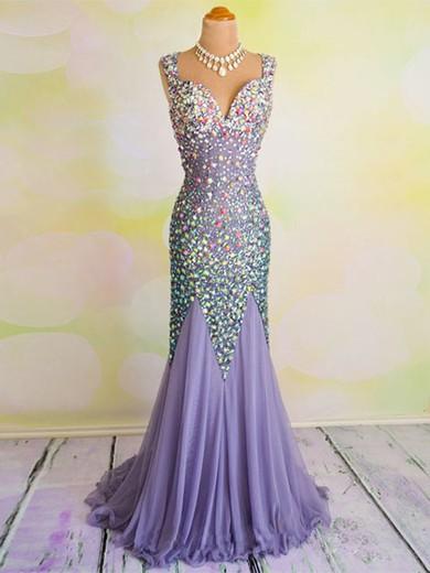 Open Back V-neck Chiffon Crystal Detailing Online Trumpet/Mermaid Prom Dresses #JCD020102031