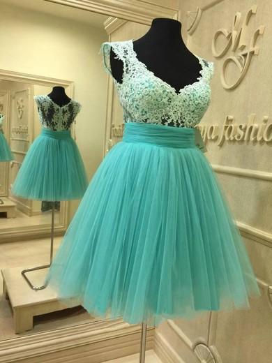 Short/Mini V-neck Cap Straps Tulle Appliques Lace Girls Prom Dresses #JCD020102036