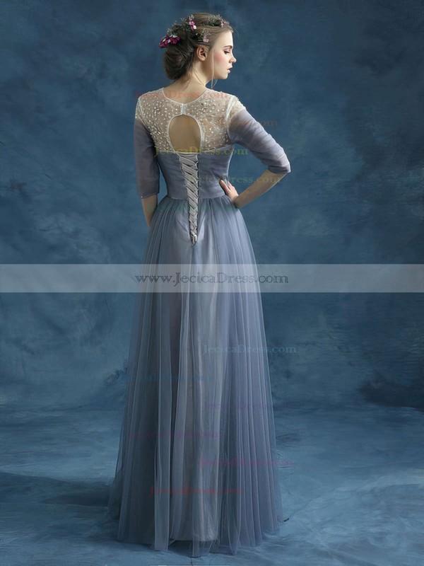 Promotion Scoop Neck Tulle Beading Floor-length 3/4 Sleeve Prom Dresses #JCD020102046