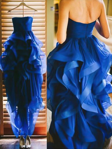 Asymmetrical Royal Blue Tulle Ruffles Latest Strapless Prom Dresses #JCD020102052