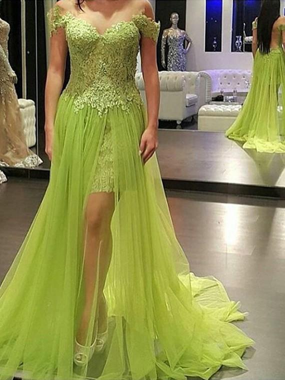 Off-the-shoulder Tulle Lace Split Front Court Train Popular Prom Dresses #JCD020102053