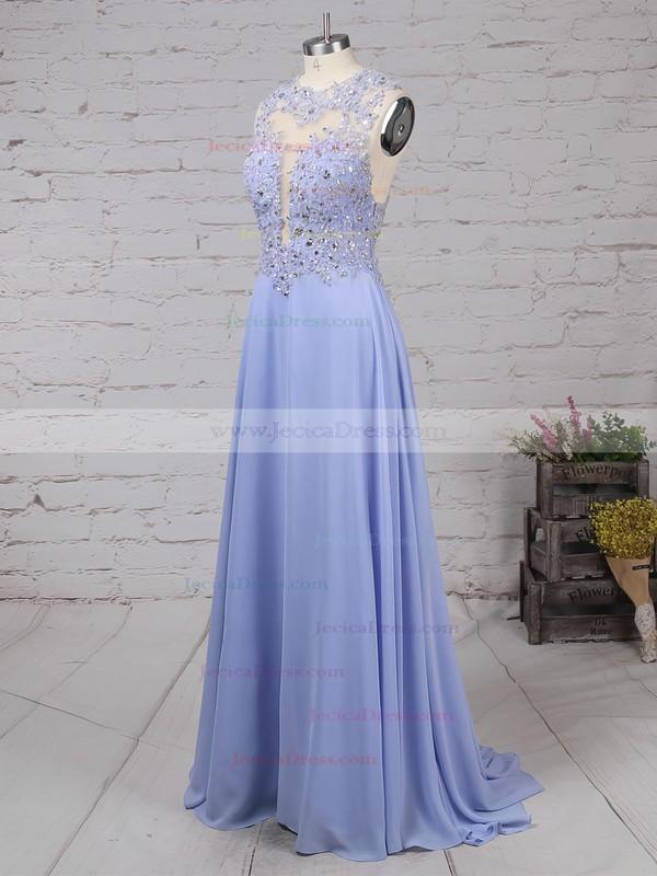 Scoop Neck Lavender Chiffon Sweep Train Appliques Lace Original Prom Dresses #JCD020102055