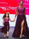 Unique Scoop Neck Floor-length Tulle Split Front 3/4 Sleeve Prom Dress #JCD020102069