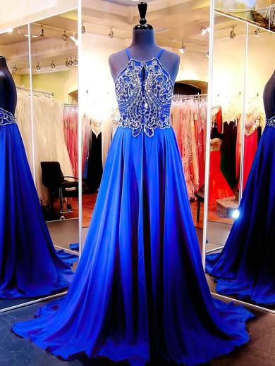 Scoop Neck Royal Blue Chiffon Court Train Beading Open Back Prom Dress #JCD020102078
