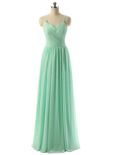 V-neck Sage Chiffon Ruched Floor-length Modest Bridesmaid Dresses #JCD01012729