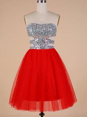Short/Mini Sweetheart Tulle Crystal Detailing Red Popular Prom Dresses #JCD020102092