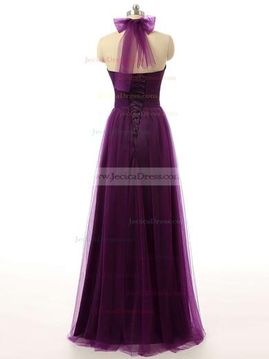 Modest Tulle Ruffles Purple Floor-length Halter Bridesmaid Dresses #JCD01012737