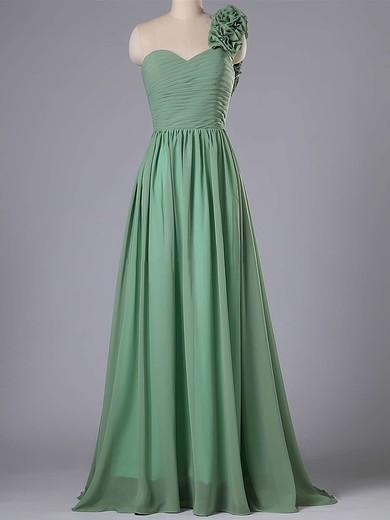 One Shoulder Chiffon Flower(s) Sweep Train Inexpensive Bridesmaid Dress #JCD01012740