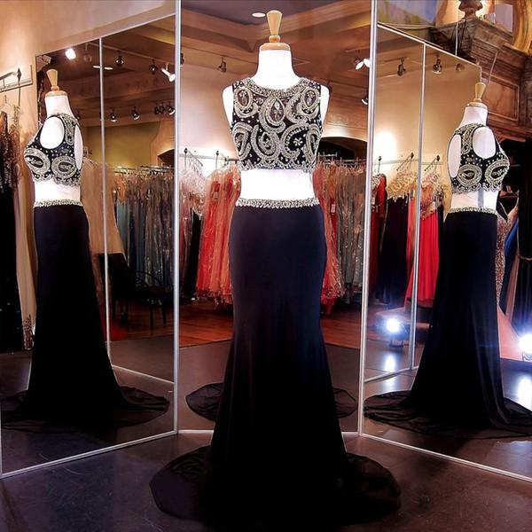 Black Two Piece Scoop Neck Chiffon Beading Sheath/Column Prom Dress #JCD020102157