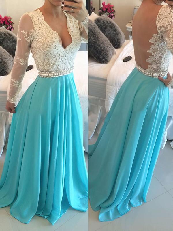 Long Sleeve V-neck Floor-length Chiffon Appliques Lace Hot Prom Dress #JCD020102161