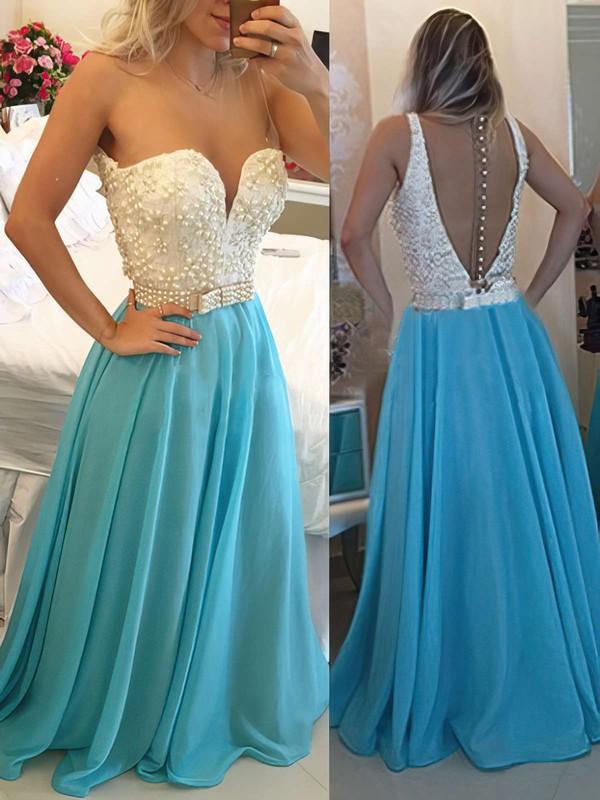 Scoop Neck Blue Chiffon Tulle Pearl Detailing Beautiful Prom Dress #JCD020102163