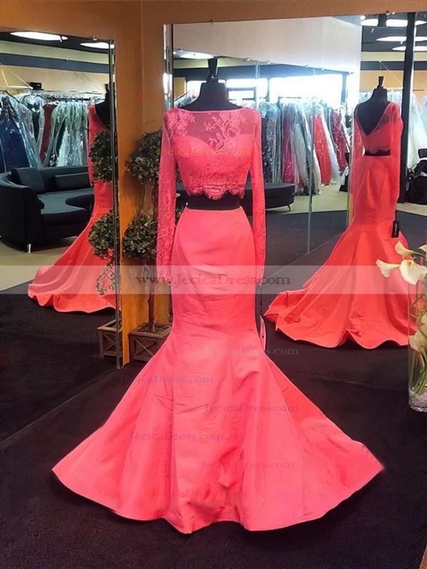 Trumpet/Mermaid Black Silk-like Satin Lace Long Sleeve Two Piece Prom Dress #JCD020102165