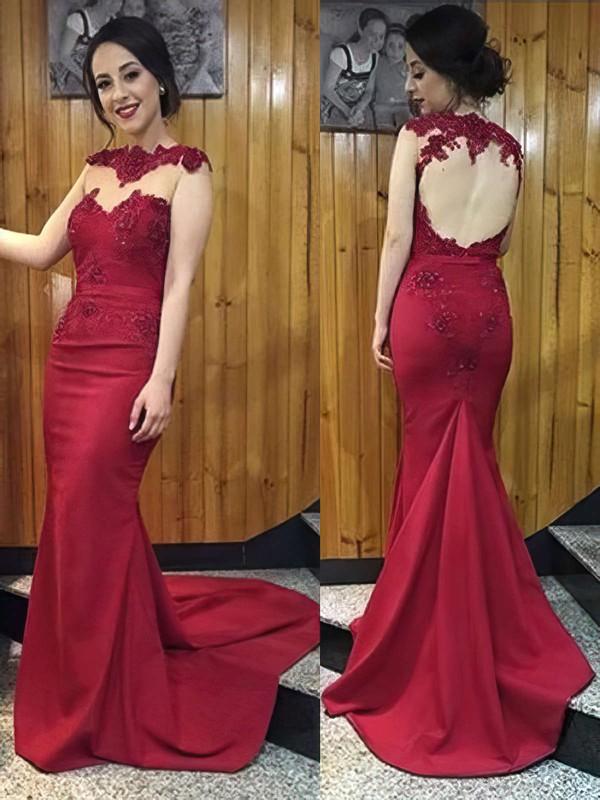 Designer Burgundy Open Back Silk-like Satin Appliques Lace Trumpet/Mermaid Prom Dress #JCD020102169