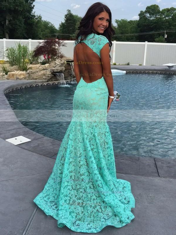 Promotion Trumpet/Mermaid V-neck Open Back Lace Red Prom Dress #JCD020102172