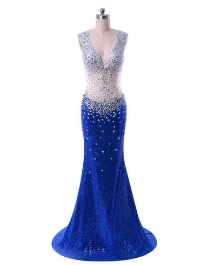V-neck Open Back Tulle Sequined Crystal Detailing Royal Blue Trumpet/Mermaid Prom Dress #JCD020102108