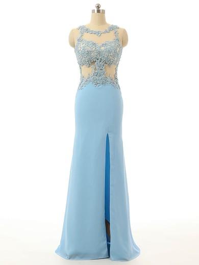 Open Back Sheath/Column Chiffon Tulle Best Light Sky Blue Split Front Prom Dress #JCD020102111
