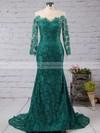 Scoop Neck Vintage Dark Green Lace Tulle Long Sleeve Trumpet/Mermaid Prom Dresses #JCD020102176