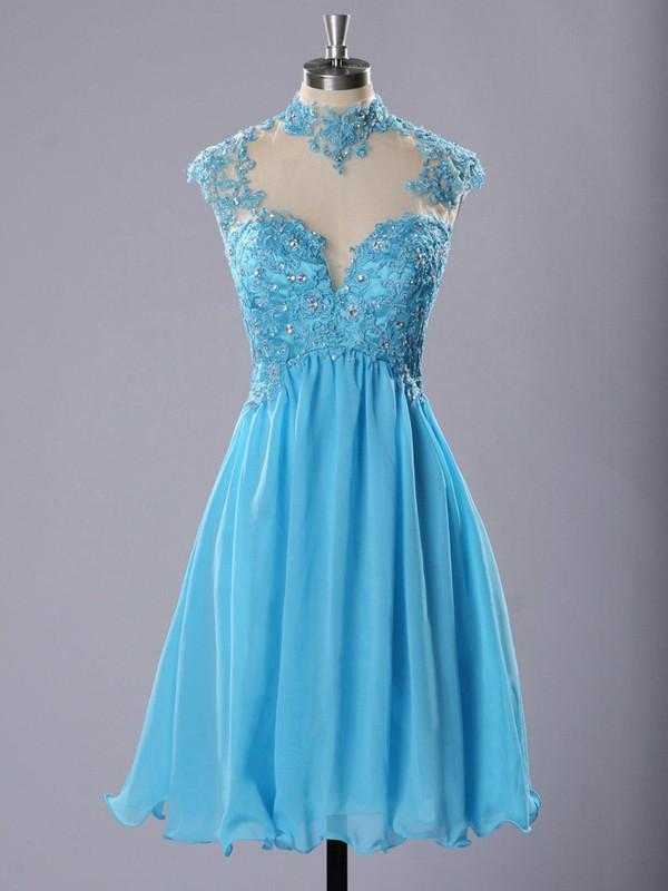 High Neck Blue Chiffon Tulle Appliques Lace Girls Short/Mini Prom Dresses #JCD020102183