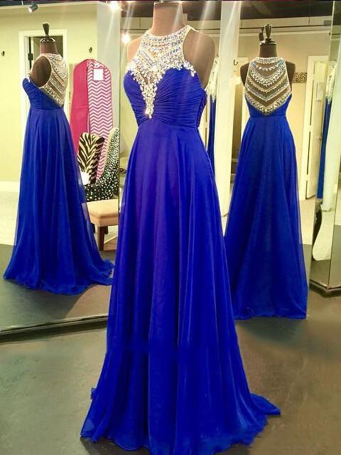 Beautiful Scoop Neck Sweep Train Chiffon Tulle Beading Royal Blue Prom Dresses #JCD020102185