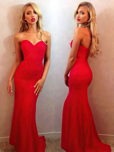 Sweetheart Trumpet/Mermaid Silk-like Satin Sweep Train Simple Red Prom Dresses #JCD020102187