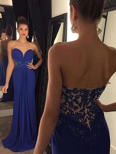 Top Sweetheart Chiffon Appliques Lace Sheath/Column Prom Dresses #JCD020102192