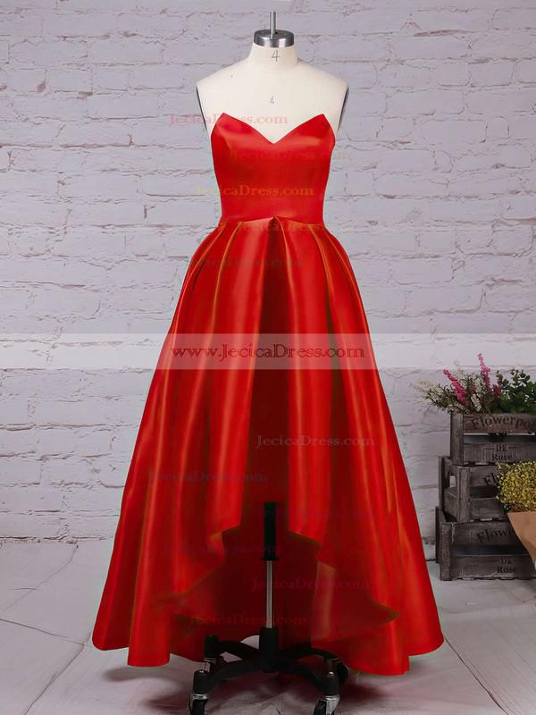 Asymmetrical Princess Red Ruffles Satin Hot Prom Dresses #JCD020102193