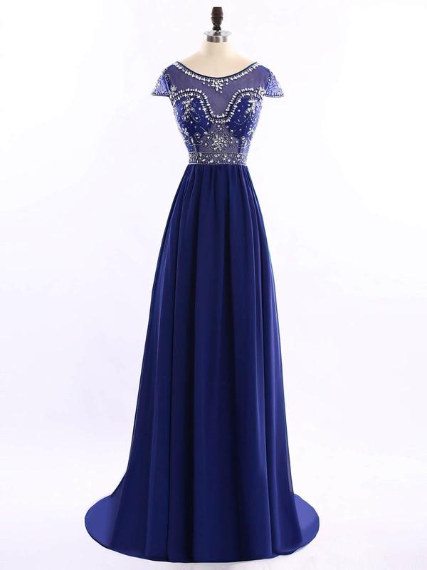Scoop Neck Sweep Train Chiffon Tulle Beading Royal Blue Short Sleeve Prom Dresses #JCD020102194