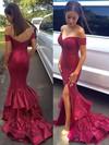 Off-the-shoulder Trumpet/Mermaid Good Burgundy Sequined Split Front Prom Dresses #JCD020102197