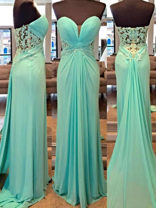 Perfect Chiffon Appliques Lace Sheath/Column Watteau Train Prom Dresses #JCD020102201