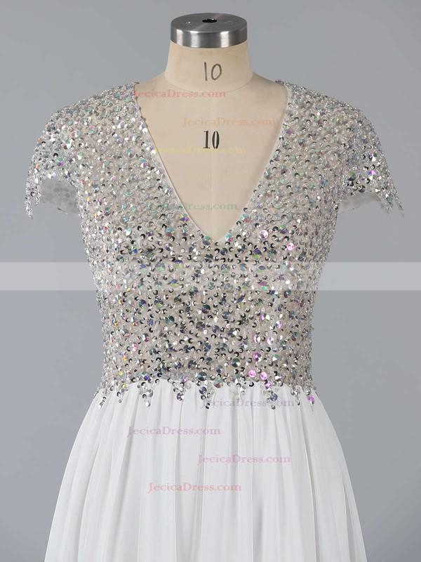 Open Back V-neck Chiffon Tulle Sweep Train Split Front Prom Dresses #JCD020102202