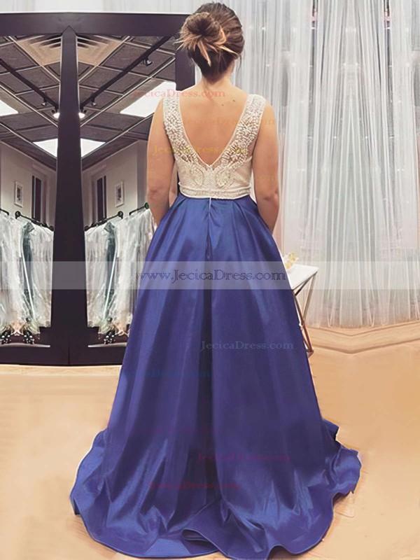 Sweep Train Elastic Woven Satin with Pocket V-neck Original Prom Dress #JCD020102206