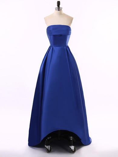 Original Asymmetrical Satin Princess Royal Blue Strapless Prom Dress #JCD020102211