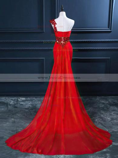 Red One Shoulder Chiffon Beading Online Trumpet/Mermaid Prom Dress #JCD020102212