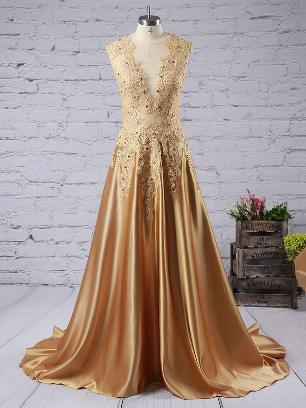Modest Sweep Train Silk-like Satin Appliques Lace V-neck Long Prom Dress #JCD020102215