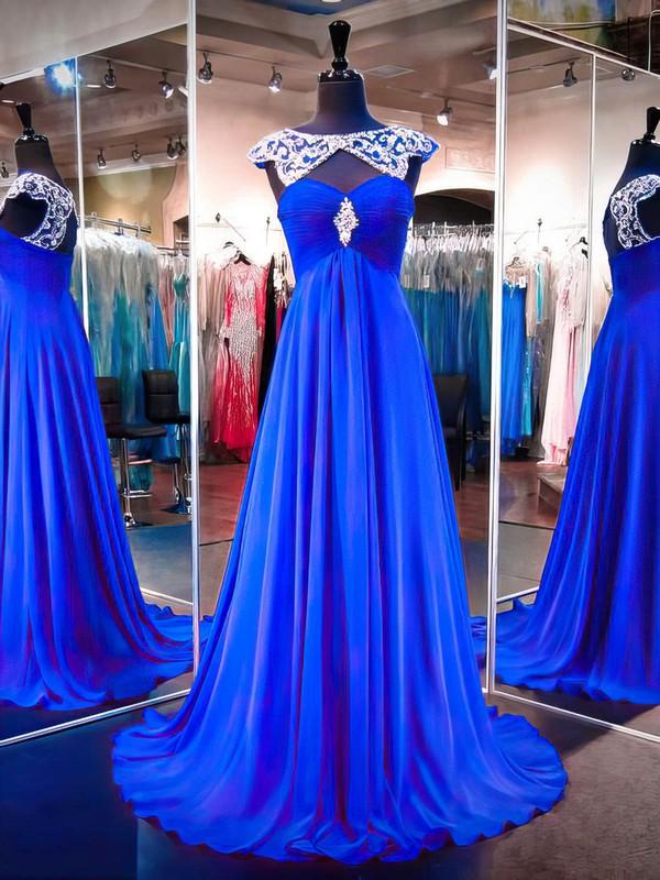 Royal Blue Scoop Neck Chiffon Tulle Sweep Train Beading Vintage Prom Dress