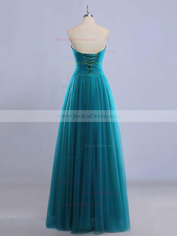 Sweetheart Floor-length Green Tulle with Beading Custom Prom Dress #JCD020102225