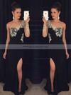 Black Chiffon Tulle Crystal Detailing One Shoulder Long Sleeve Sheath/Column Prom Dress #JCD020102230