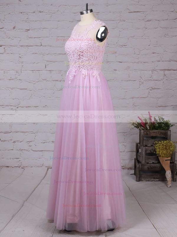 Scoop Neck Pink Tulle Pearl Detailing Floor-length Elegant Prom Dresses #JCD020102317