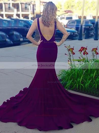Unique Jersey Court Train Ruffles Backless Trumpet/Mermaid Prom Dresses #JCD020102318
