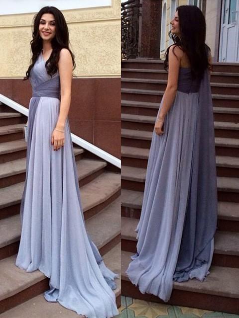 Multi Colours Chiffon Ruffles Sweep Train Online One Shoulder Prom Dresses #JCD020102319