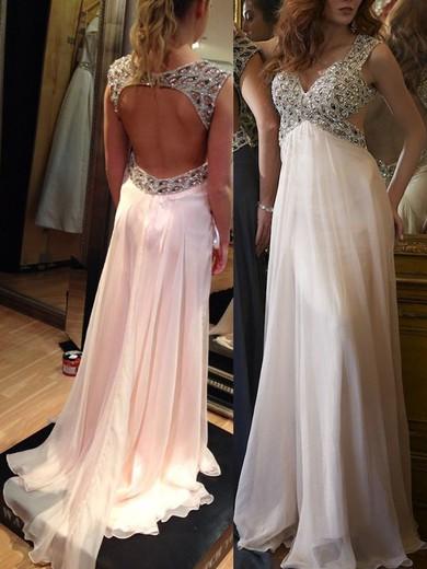 Classy Empire Chiffon with Beading V-neck Open Back Prom Dresses #JCD020102324