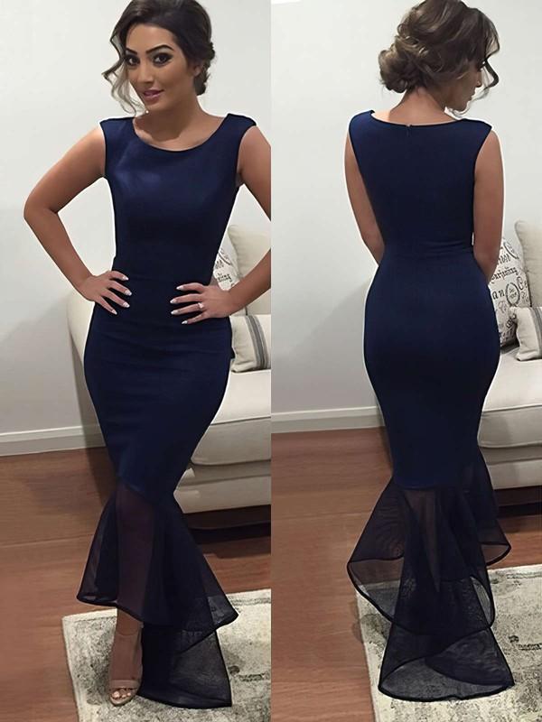 Trumpet/Mermaid Asymmetrical Organza Silk-like Satin Ruffles Summer Black Prom Dress #JCD020102330