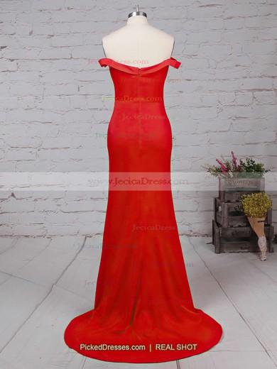 Hot Sheath/Column Silk-like Satin Ruffles Red Off-the-shoulder Prom Dress #JCD020102332