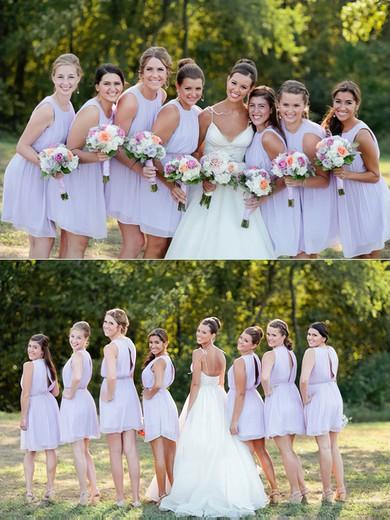 Cute Scoop Neck Chiffon Sashes / Ribbons Short/Mini Bridesmaid Dresses #JCD01012751