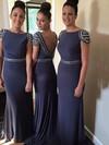 Popular Chiffon Sweep Train Beading Backless Sheath/Column Bridesmaid Dresses #JCD01012765