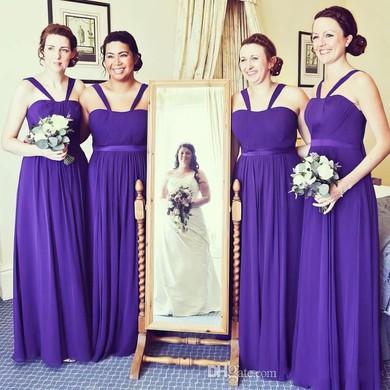 Sweet Chiffon Floor-length Sashes / Ribbons A-line Bridesmaid Dresses #JCD01012766