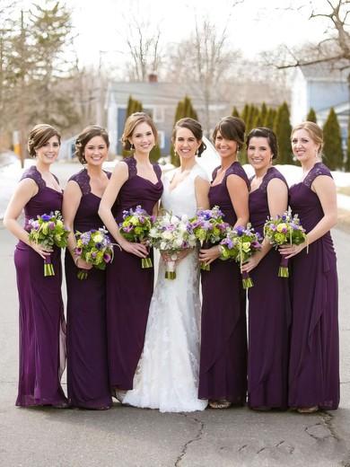Cowl Neck Beautiful Chiffon Ankle-length Sheath/Column Bridesmaid Dresses #JCD01012768